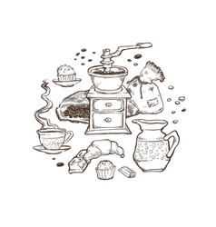 Coffee and dessert set food vector