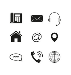 contacts set icons vector image vector image