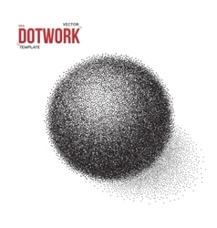 Halftone 3D Ball template Dotwork Tattoo Style 3D vector image vector image