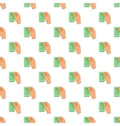 Hand holding wad of money pattern cartoon style vector image