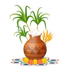 happy pongal greeting card holiday india vector image