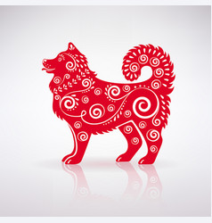 Stylized red dog with ornament vector