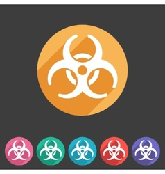 Biohazard flat icon badge vector image vector image