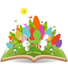Easter egg and bunny spring with grass garden in vector