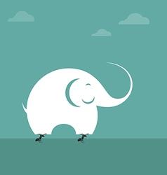 Elephants and ants vector image