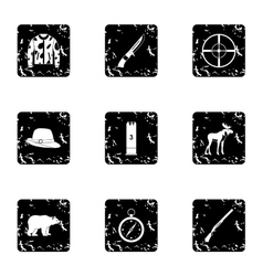 Hunting icons set grunge style vector image vector image