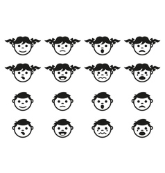 Kid child and baby faces avatars symbols set vector image