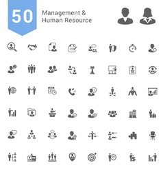 Management and human resource solid icon set vector