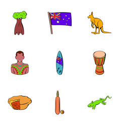 new zealand icons set cartoon style vector image
