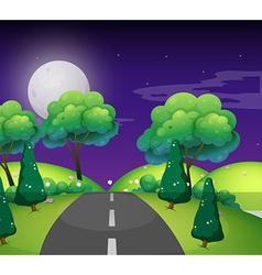 Scene with empty road at night vector