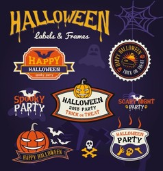 Set of Halloween party labels and frames design vector image vector image
