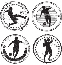 soccer player stamps vector image vector image