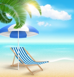 Beach with Palm Clouds Sun Beach Umbrella and vector image