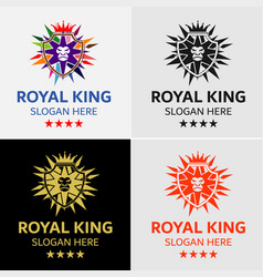 Crown lion king crest logo template vector