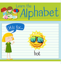 Flashcard letter h is for hot vector
