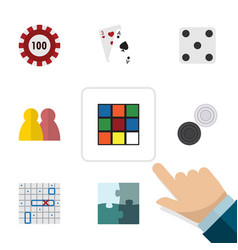 flat icon play set of ace people cube and other vector image vector image