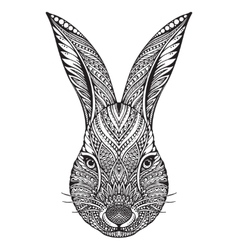 Hand drawn graphic ornate head of rabbit vector image vector image