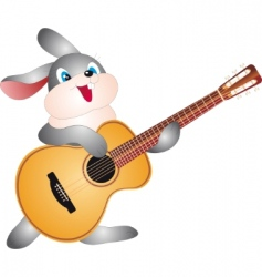 rabbit with guitar vector image vector image