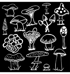 Set of white silhouettes cute cartoon mushrooms on vector image