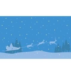 Silhouette of train deer christmas landscape vector