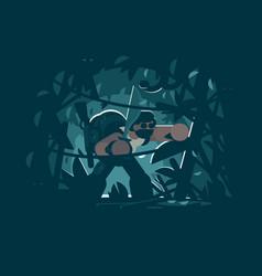 traveler in jungle vector image