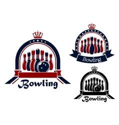 Bowling symbol or emblem in round frame vector image