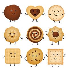 cute cartoon funny cookies bakery characters vector image
