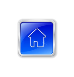 Home icon on blue button vector image