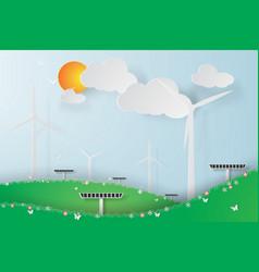paper art of green wind turbine solar energy vector image vector image
