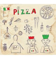 Pizza hand drawn elements - retro design vector image vector image