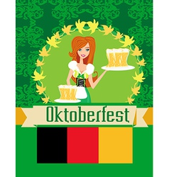 Pretty waitress with beer Oktoberfest card vector image