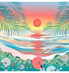 Sea seascape sunset vector image