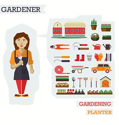 Set of elements for horticulture with gardener vector image vector image