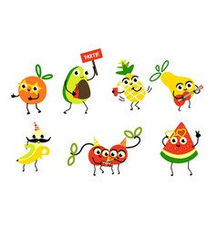 set of fruit characters having fun birthday party vector image vector image