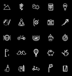 Slow life activity line icons on black background vector