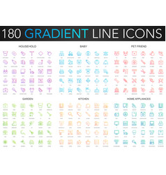 180 trendy gradient thin line icons set of vector