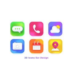 3d icons sur design symbols for mobile app vector image