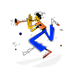 a man playing trumpet bright vintage image vector image