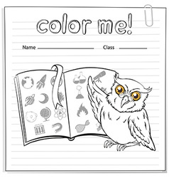 A worksheet showing an owl and a book vector image