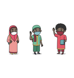 African muslim kids character wearing face mask vector