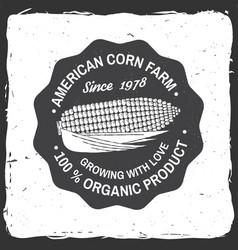 American corn farm badge or label vector