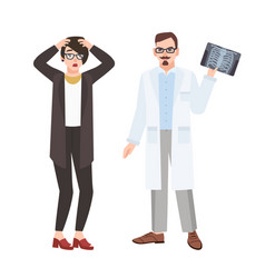 Angry male doctor physician demonstrating x-ray of vector