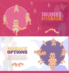 Baby massage banners set vector