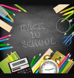 Back to school background with supplies tols and vector