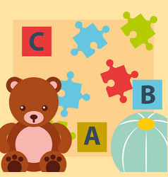Bear teddy ball blocks alphabet and puzzles toys vector