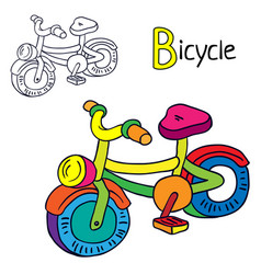bicycle coloring book page cartoon vector image