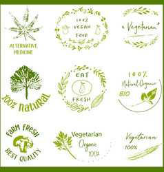 bio ecology organic logos and icons labels vector image