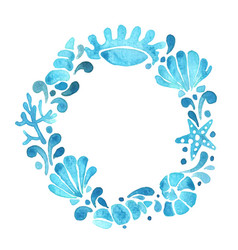 Blue starfish coral and sea shell wreath vector
