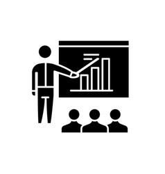 business plan presentation black icon sign vector image