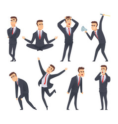 businessman emotions angry kind sweet smiling vector image